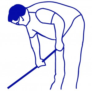 gardener leaning forward blue
