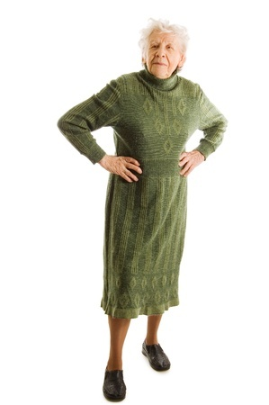Senior woman Ortho-Bionomy older senior standing posture dignity green lady dignified